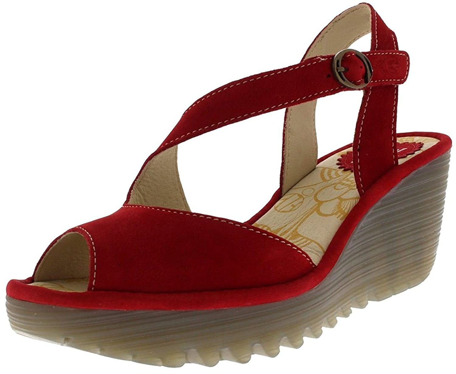 #Fly London Yamp836fly Red Womens Leather Wedge Sandals Shoes B07C5QKKRZ 8 UK 41 EU 10 US