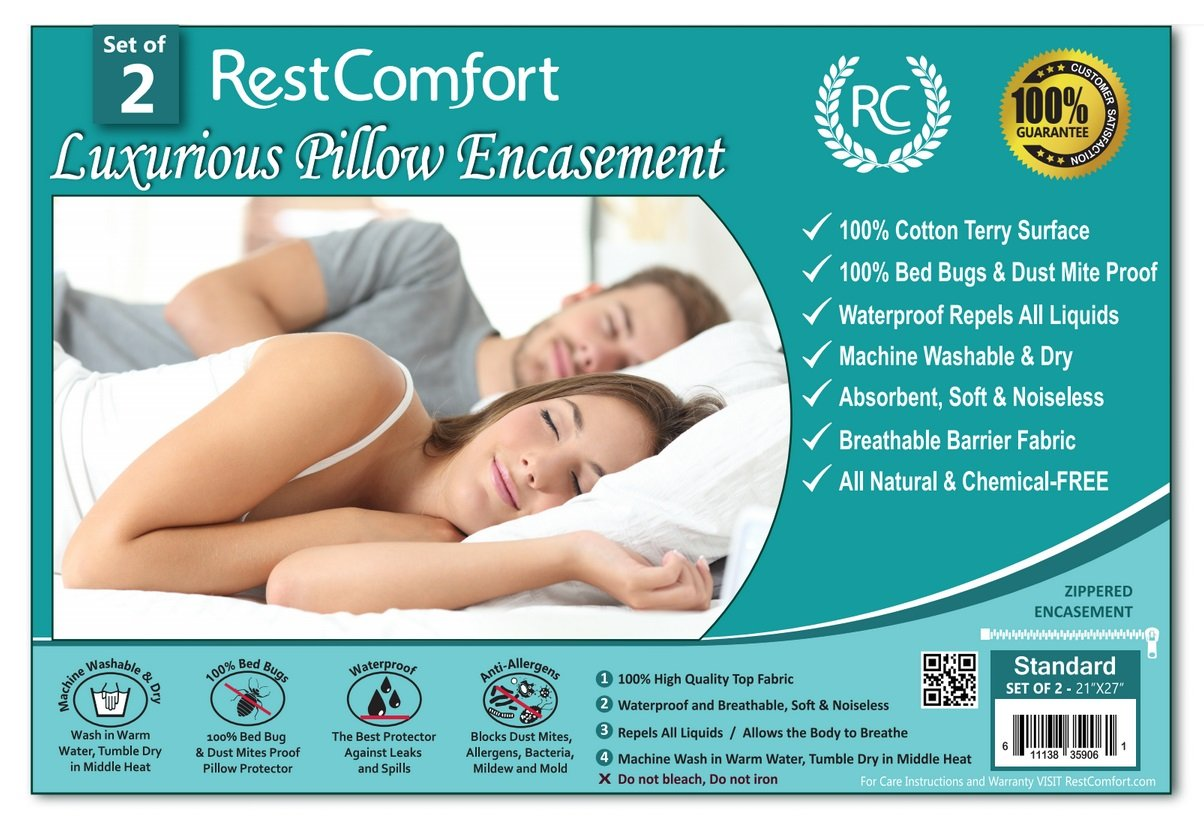 Set of 2 Cotton Terry Pillow Protectors, Bed Bug & Dust Mite Bacteria, Allergy Proof / Waterproof Hypoallergenic Breathable & Quite - Zippered Pillow Encasement, RestComfort (Standard 21''x27'', White)