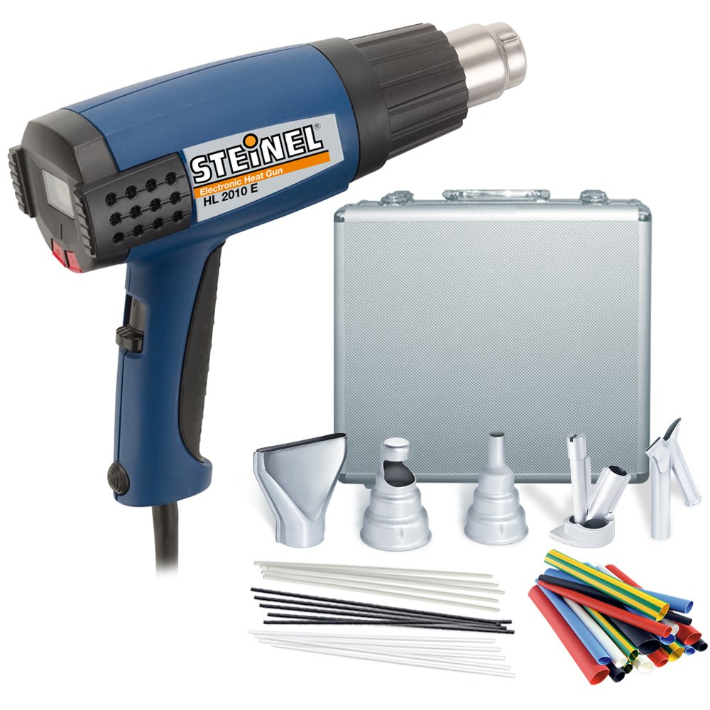 Steinel HL 2010 E Case Silver - Set includes a 1500 W Head Gun, ergonomically designed Power Tool with LCD Display, Microprocessor controlled Hot Heat Blower with 3 Stage Switch airflow and continuously variable temperature up to 1150°F, 34859
