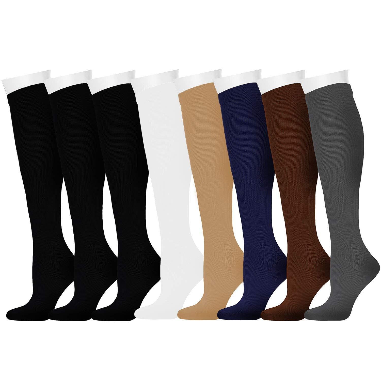 Compression Socks for Women and Men for Running, Athletic Sports, Flight Travel, Nurses, Maternity Pregnancy, Shin Splints, Edema, Varicose Veins (Assorted 1, L/XL)