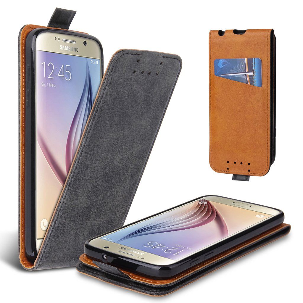 Lelogo Galaxy S6 Hü lle, Leder Tasche fü r Samsung Galaxy S6 Handyhü lle Flip Case Schutzhü lle (Schwarz)