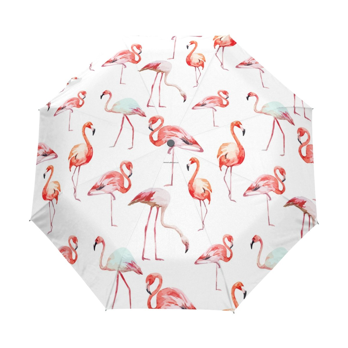 BENNIGIRY Paraguas de viaje resistente al viento, resistente al agua, con flamenco y cierre automático, plegable, resistente, compacto, paraguas, Mujer, ...