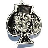 Pin's en émail sur métal en forme d'as de pique Squelette grimaçant Noir
