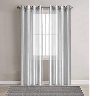 DEZENE Premium Faux Silk Voile Curtains For Bedroom