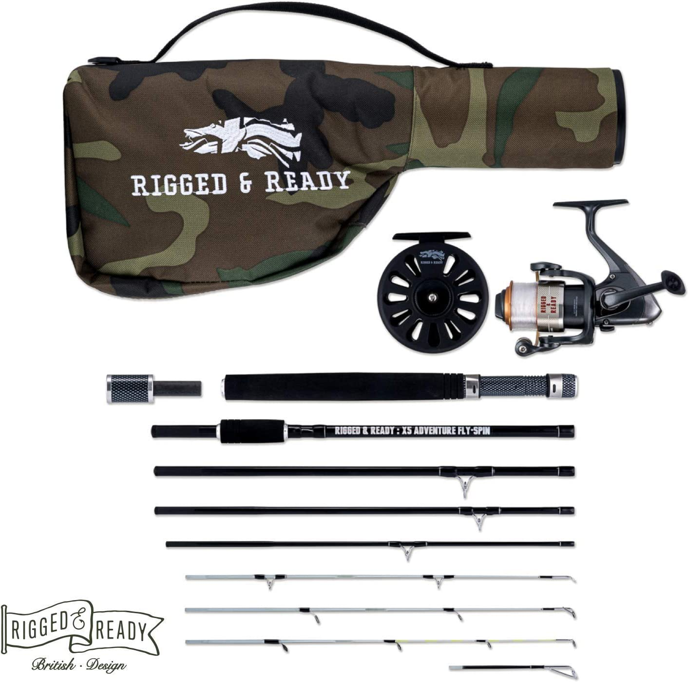 The X5 Adventure Travel Fishing KIT. 5 Fishing RODS in ONE. Interchangeable Spin, Fly, Bait, Travel Fishing Rod and reels. for Fly Fishing, Saltwater Fishing and Much More, All in a Compact Format