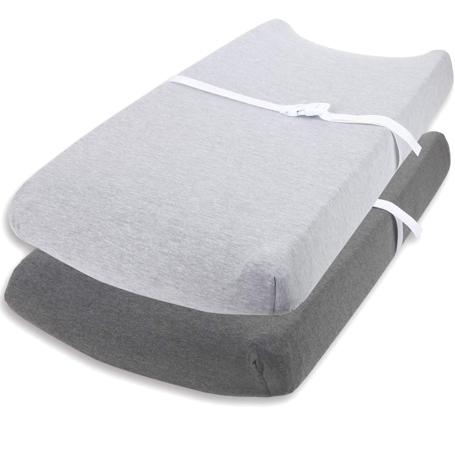Changing Pad Cover Set by Cuddly Cubs | Ultra Soft Jersey Cotton Changing Table Cover Cradle Sheets 16x32 inches for Baby Girl and Boy | 2 Pack Heather Grey Change Table Sheets by Cuddly Cubs