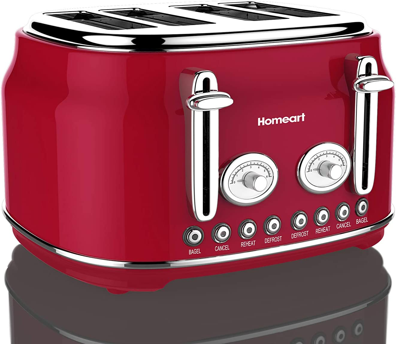 Artisan 4 Slot Toaster by Homeart 2019 Electric Toaster with Multi-Function Toaster Options Vintage Toaster Stainless Steel Red
