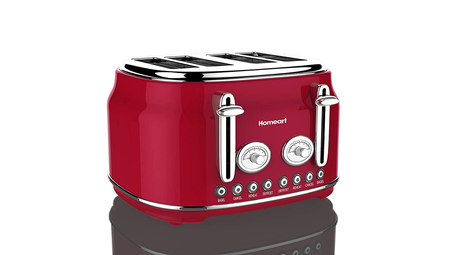 Artisan 4 Slot Toaster by Homeart | 2019 Best Electric Toaster with Multi-Function Toaster Options | Vintage Toaster Stainless Steel (Red)