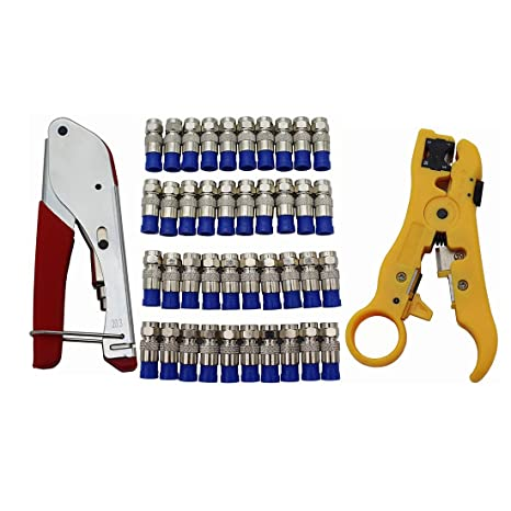 goodqbuy Coax compresión conector y cables conectores de compresión F RG6 con pelacables herramienta para desmontar