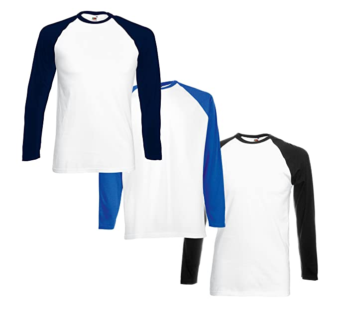Camisetas de Béisbol para Hombre (Paquete de 3) FM® Tshirt de Manga Larga 100% de Algodón: Amazon.es: Ropa y accesorios