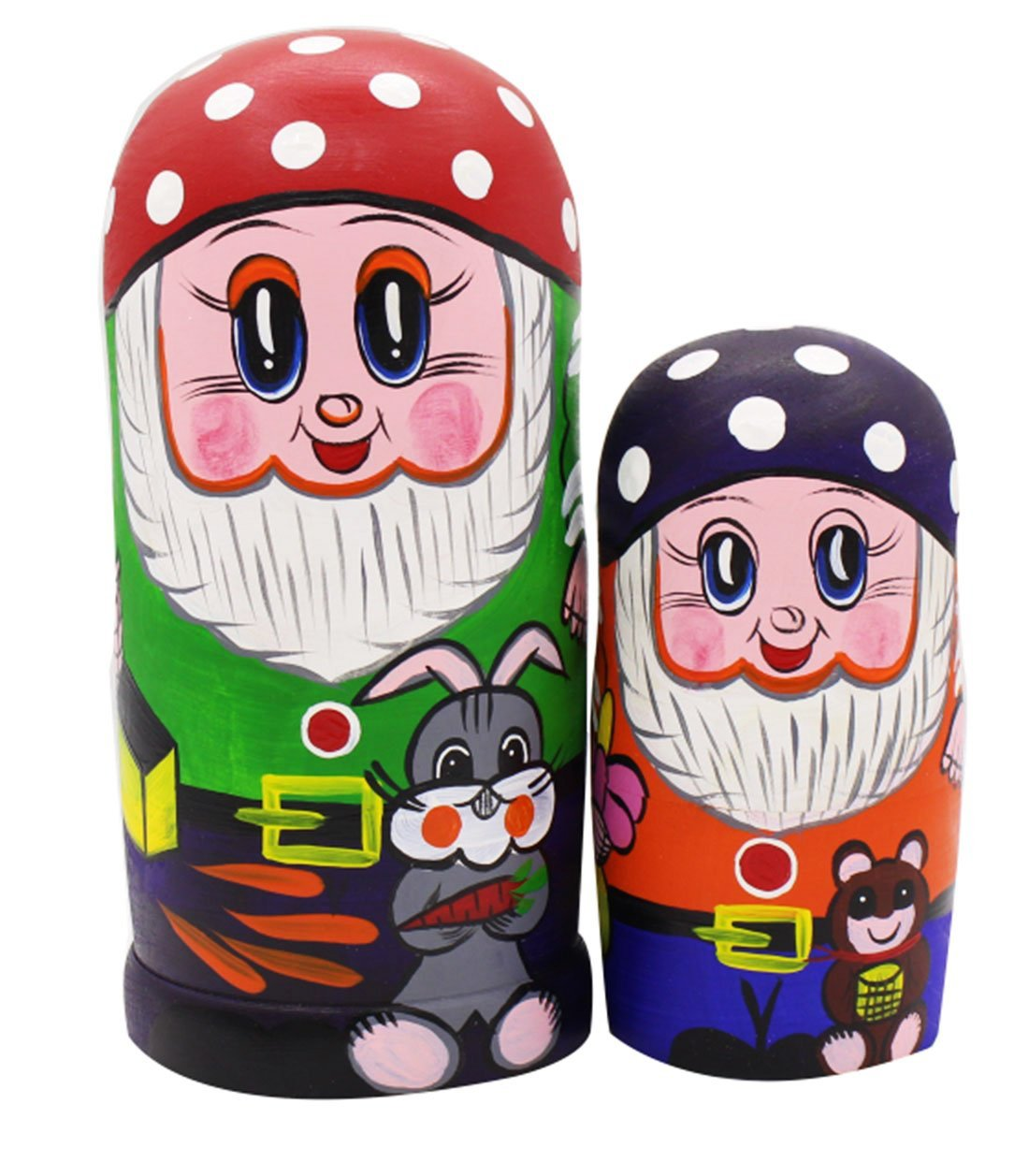 Set von 7 M/ärchen Zwerge Stapeln Spielzeug Russischen Puppe Handgefertigt Spielzeug aus Holz f/ür Kinder Kinderzimmer Decor Blau
