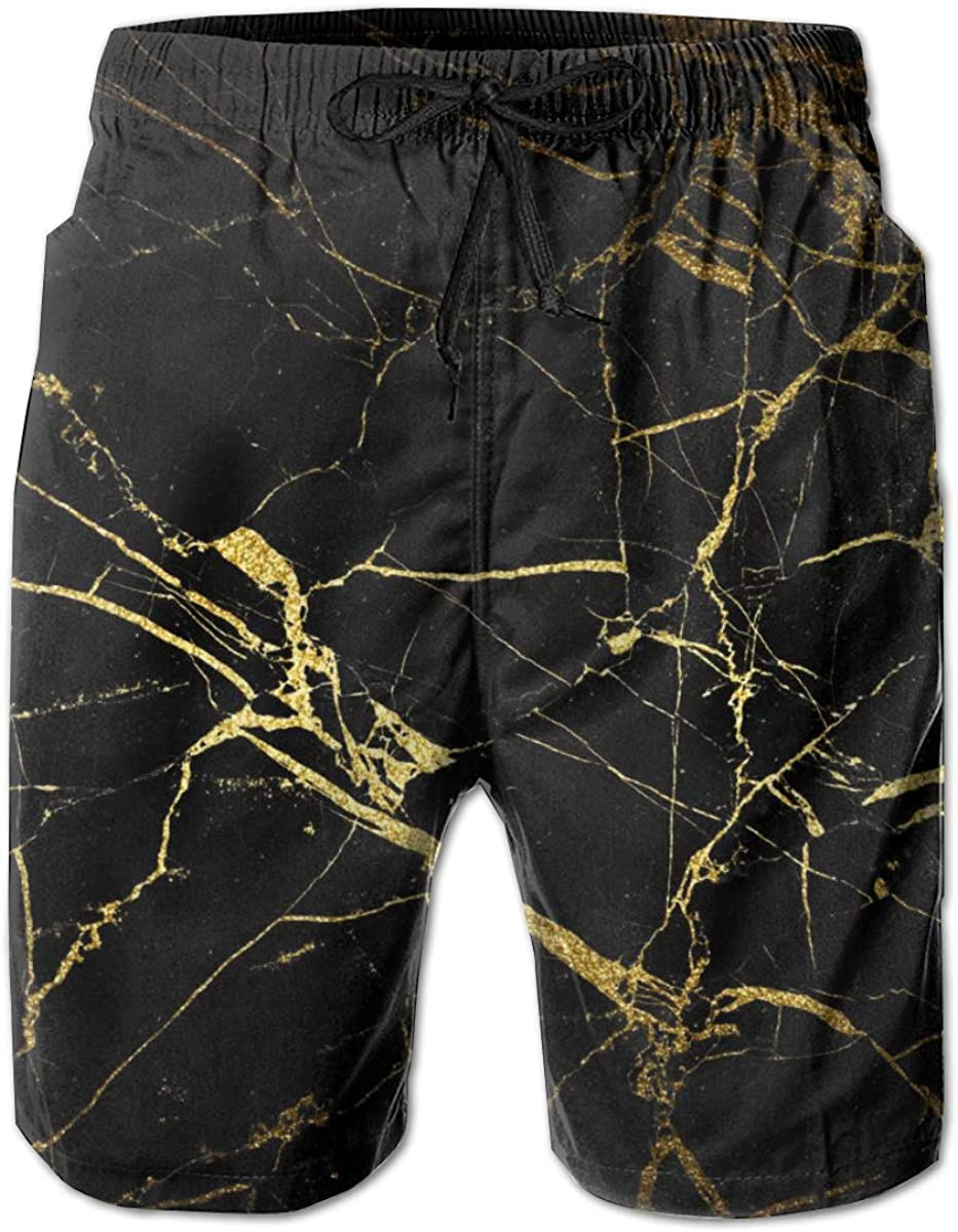 Mens Black Gold Marble Summer Beach Quick Dry Shorts Swimming Trunks Cargo Shorts Beach Trunks