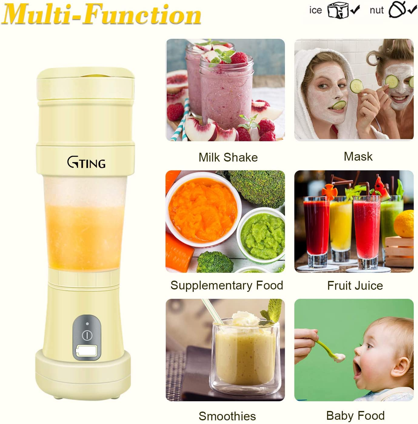 G-TING Collapsible Personal Smoothies Blender Cordless Smoothies Single Serve Mini Blender 500ml USB Rechargeable Small Juice Mixer Portable Juicer Shakes Portable Blender Travel /& Gym Home
