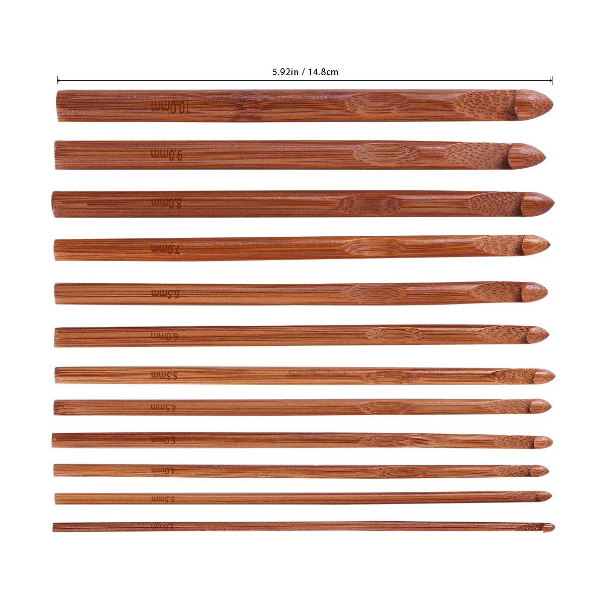 20 Carbonized Bamboo Crochet Hooks, Full Gift Set, Lightweight, Ergonomic, Eco-Friendly, Size C to N, Steel Hook Sizes 1.0-2.75MM by KOKNIT (Image #4)
