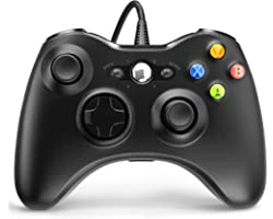 Wired Controller for Xbox 360, YAEYE Game Controller for Xbox 360 with Dual-Vibration Turbo for Microsoft Xbox 360/360 Slim a