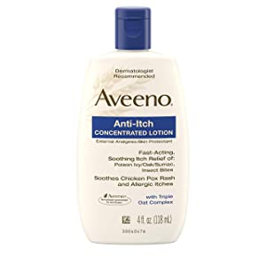 Aveeno Anti-Itch Concentrated Lotion with Calamine and Triple Oat Complex, Skin Protectant for Fast-Acting Itch Relief from Poison Ivy, Insect Bites, Chicken Pox, and Allergic Itches, 4 fl. oz