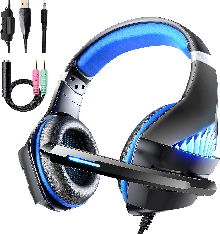 Auriculares Gaming con Micrófono para PS4 Xbox One, Viixm Cascos Gaming Stereo con luz LED & Suave Orejeras de Memoria, Diadema Acolchada y Ajustable, 3.5mm Jack para PC Nintendo Switch