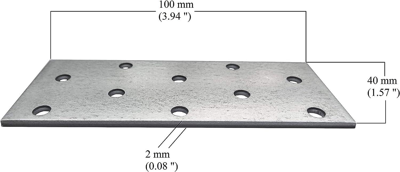 chapa de acero de 160 x 40 x 2 mm paquete de 10 unidades Placa de uni/ón de uni/ón plana galvanizada de alta resistencia