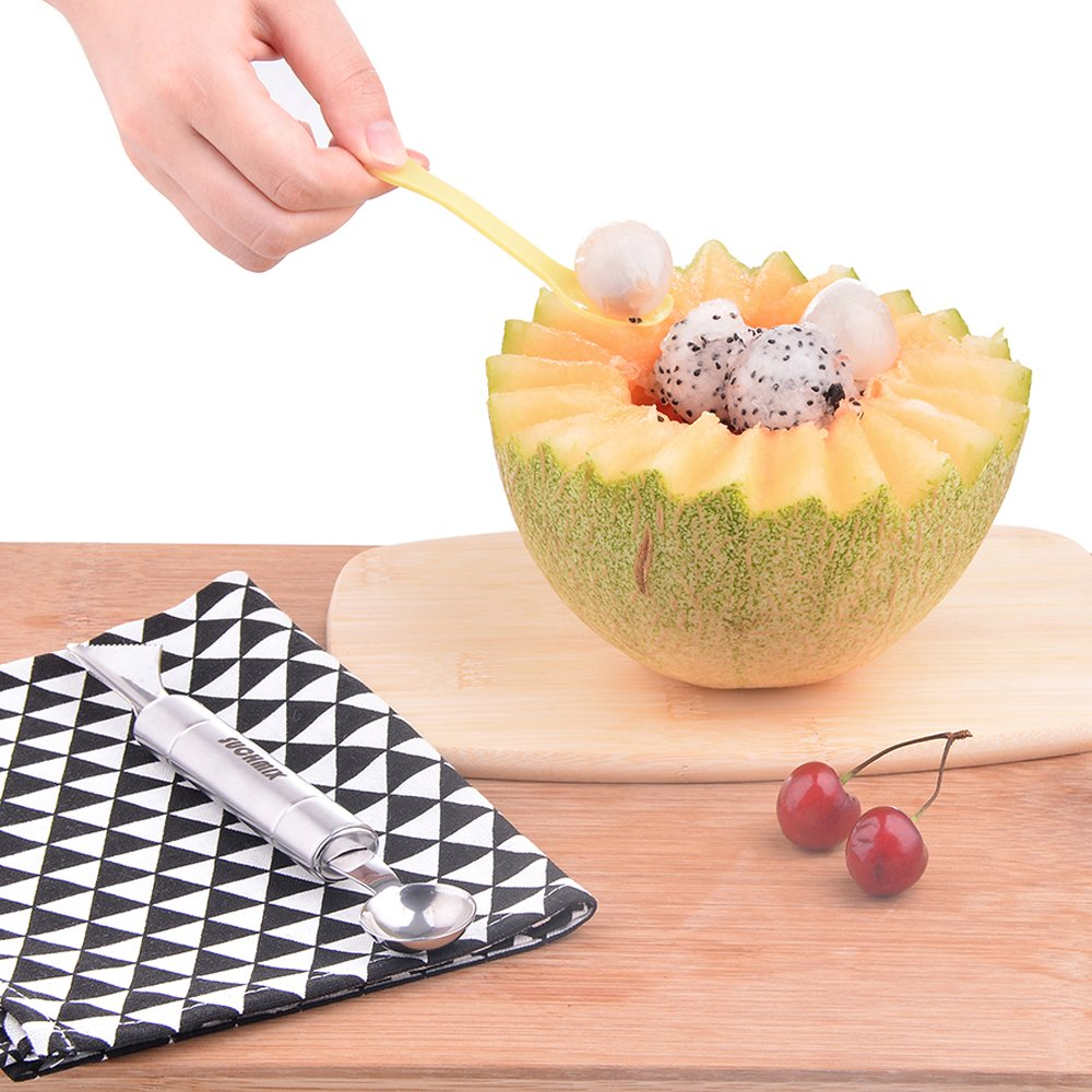 Premium Stainless Steel Watermelon Slicer and Tongs by SUCHMIX,New Extended Non Slip Handle Made to Slice and Serve with Ease - No Mess, Less Stress, Bonus Melon Baller Scoop and Gift Box. by SUCHMIX (Image #6)
