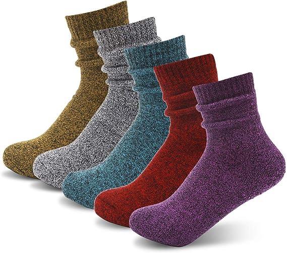 SUNSKYOO Tricot Chaud Crew Chaussettes Femmes /Épais Confortable Hiver Color/é Fantaisie Design Mignon Casual Coton Chaussettes