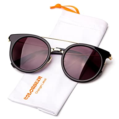 19f456a180 Fashion Polarized Sunglasses For Women Hand Made Acetate Round Frame With Polarized  Lens (Black Frame