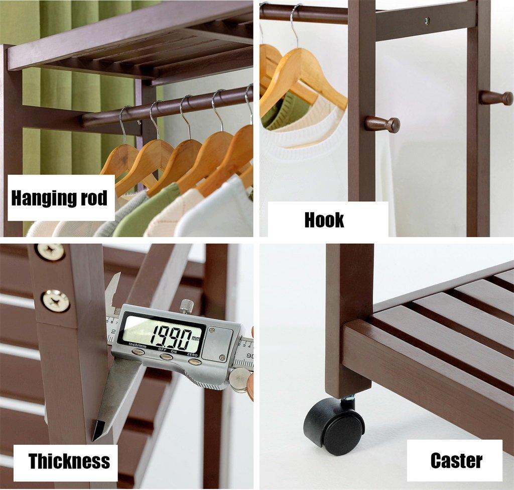 Amazon.com: Multifuctional Wood Coat Rack Free Standing with ...