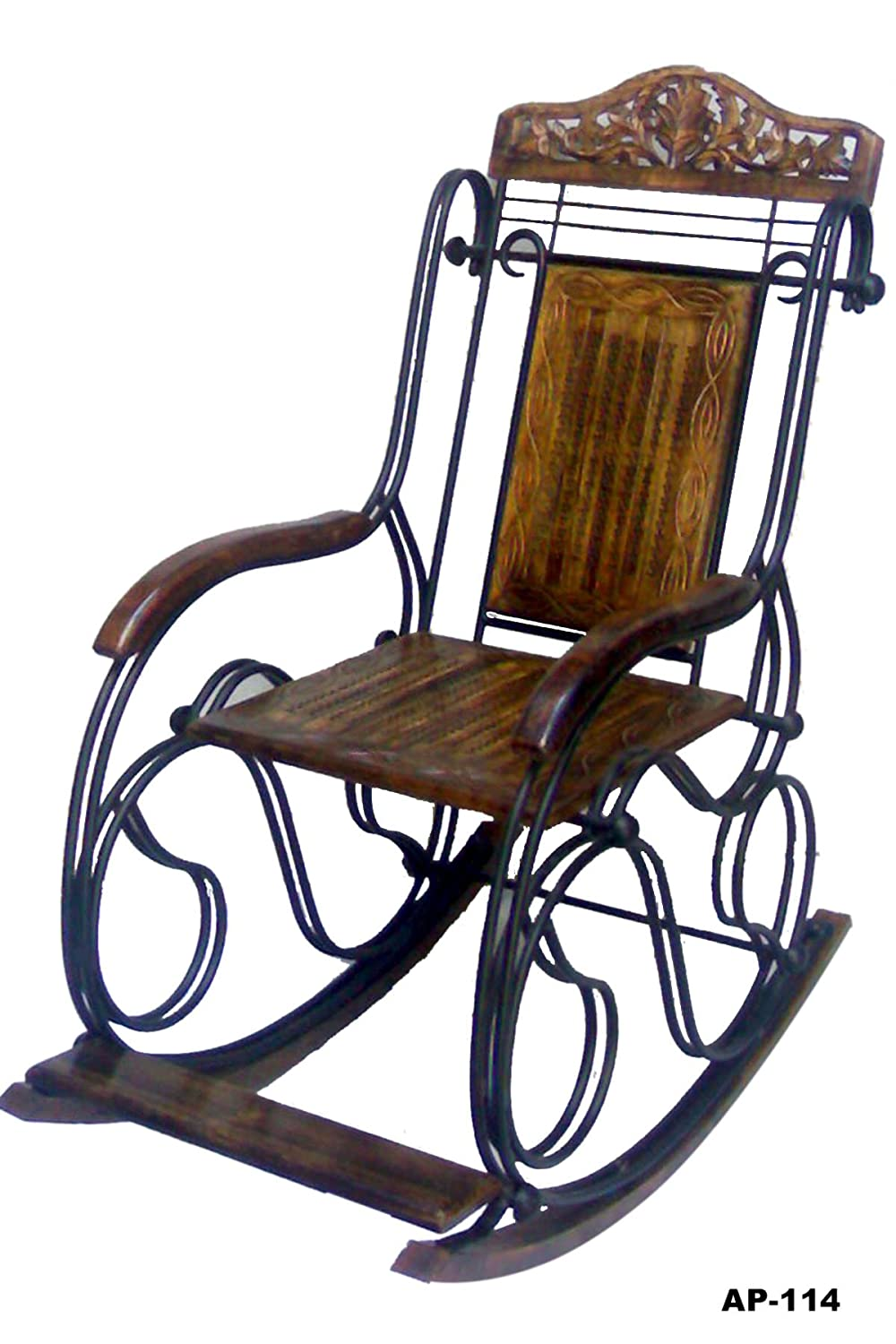 Onlineshoppee Wooden Iron Rocking Chair Black Amazonin