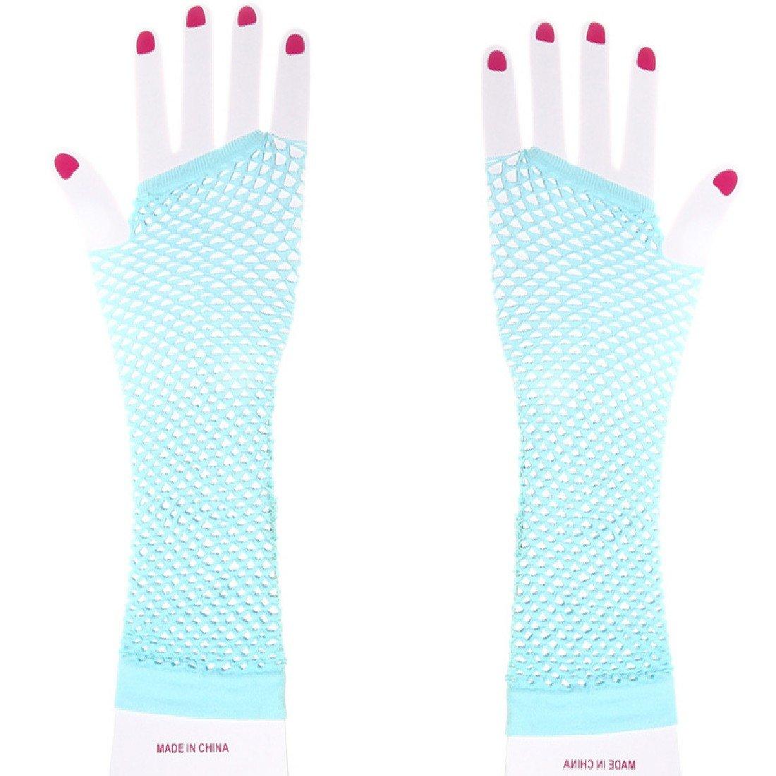 1 Pair Fashion Women Girls Long Mesh Hollow Fingerless Gloves Gothic Punk Rock Pink DUFU160777