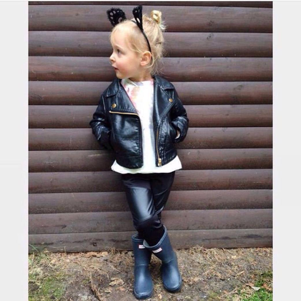7499013ed18f Amazon.com : GBSELL Toddler Baby Kids Girls Boy Leather Biker Jacket  Outfits Clothes Fall Winter : Sports & Outdoors