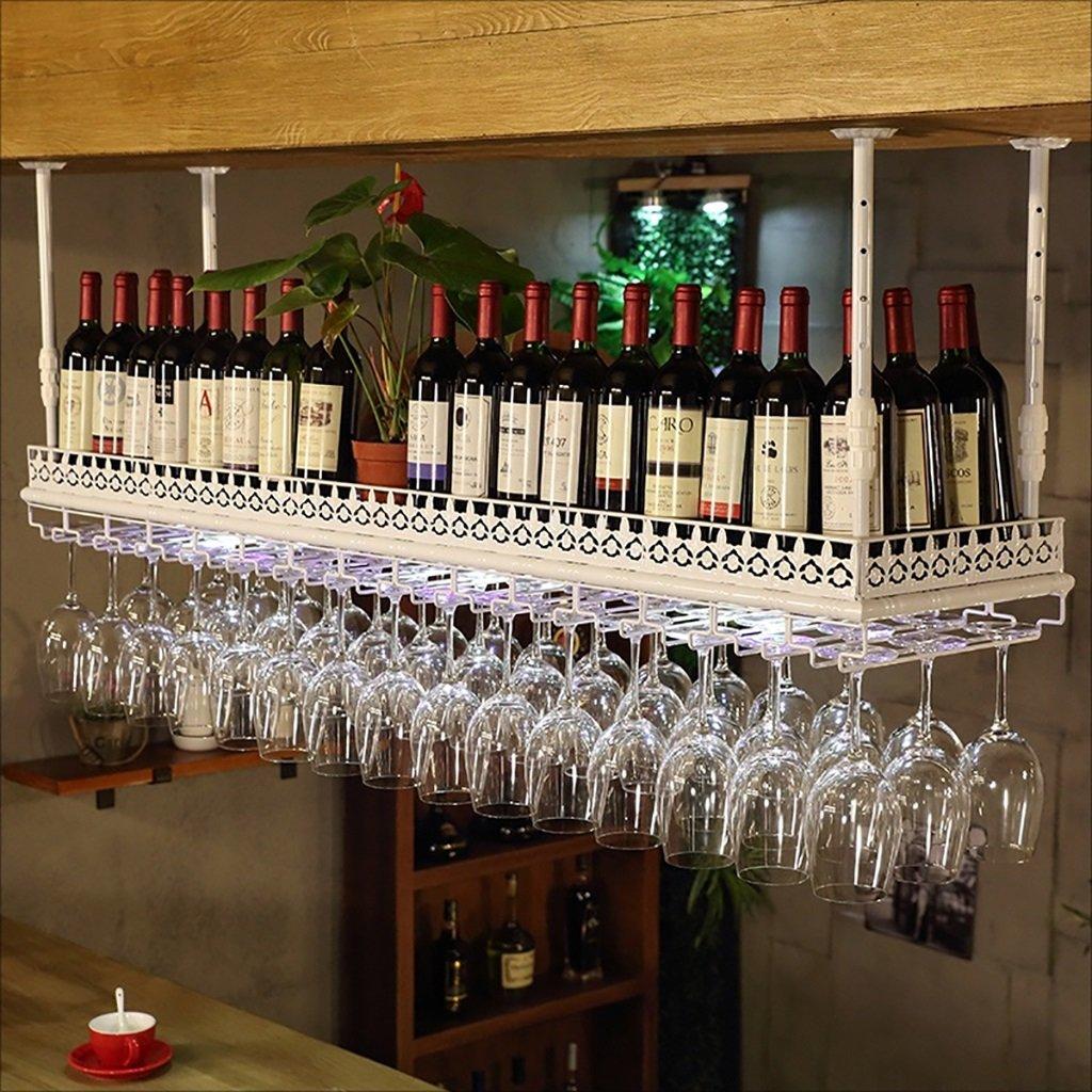 バーサスペンションバーカウンターワインラックレストラン家庭用ワイングラスラック逆さまのレトロアイアンワインラック (色 : B, サイズ さいず : 80 * 35cm) B07HNV519S B 80*35cm