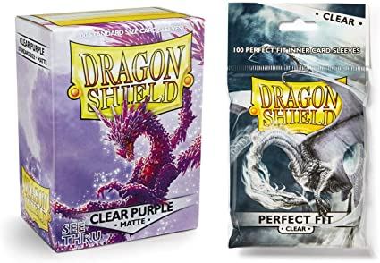 100 Count Clear Inner Card Sleeves Dragon Shield Bundle Matte Clear Purple 100 Count Standard Size Deck Protector Sleeves