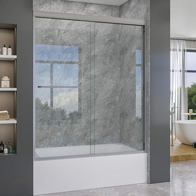 Elegante duchas semi-frameless Bypass corredera bañera puertas de 60 cm Ancho, 5/16