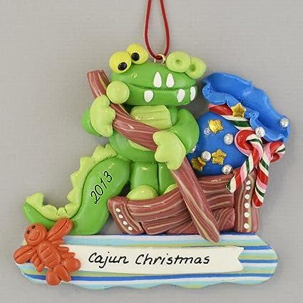 Cajun Christmas Gator in Flatboat Claydough Ornament - Amazon.com: Cajun Christmas Gator In Flatboat Claydough Ornament