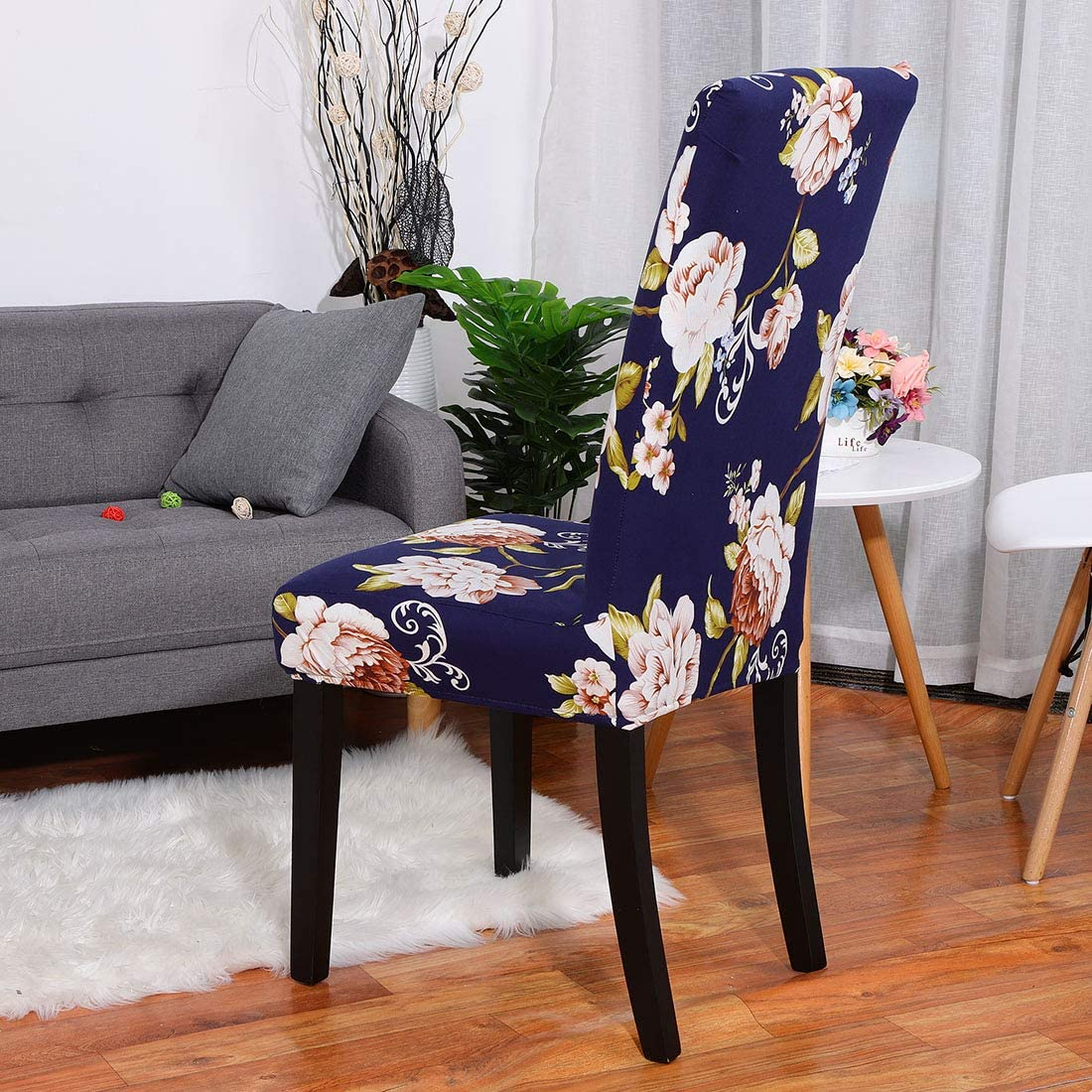 PiccoCasa Floral Print Spandex Chair Covers Fit Home Dining Room Seat Slipcover, Style 37 Navy Blue+pink+green