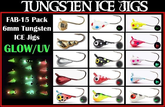 6 Tungsten Glow Ice Fishing Jigs Assortment #8 Hooks Panfish Bluegill Crappie