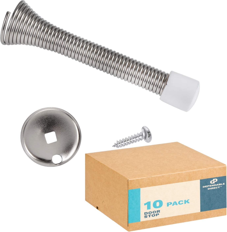 (10 Pack) Hole Center - Stainless Steel, Euro Style Door Stop, Satin Nickel Finish - for Kitchen/Bathroom/Cabinet/Dresser Handles