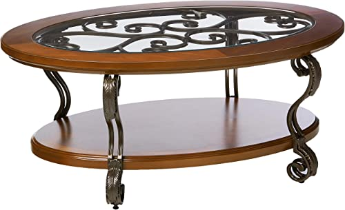 Signature Design by Ashley – Nestor Traditional Glass Top Oval Coffee Table w Fixed Shelf, Medium Brown