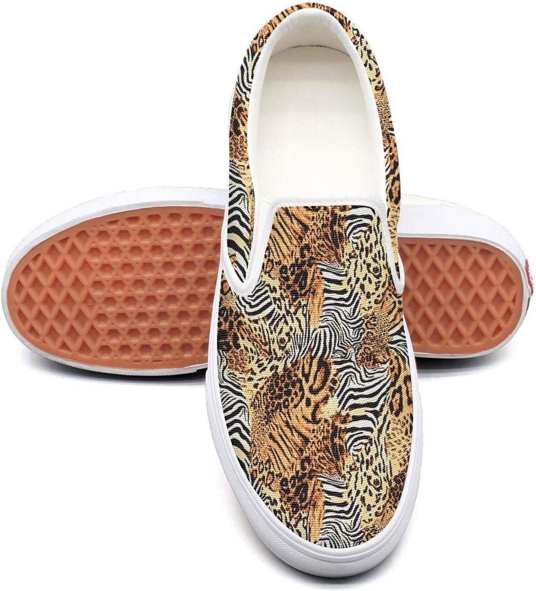 NI kingss Young Men Scottish Tartan with Snow Leopard Print Spots Slip-On Cute Casual Shoes Sneakers Print Skateboard Shoes