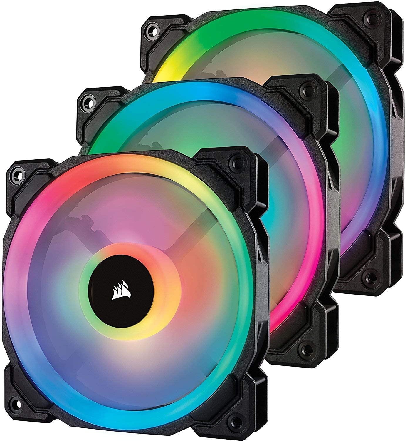 Corsair LL Series LL120 RGB 120mm Dual Light Loop RGB LED PWM Fan 3 Fan Pack with Lighting Node Pro (Renewed)