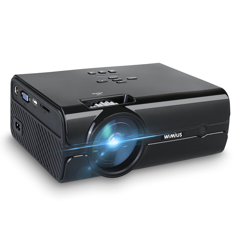 2200 Lumens Mini Beamer, 4.0 LCD HD Beamer mit 170 Bildschirm, WiMiUS LED Projeckot für Heimkino-Erfahrung, Support Full HD 1080P, 50000 Stunden, unterstützt HDMI VGA USB AV Micro SD Schwarz (2018 Verbesserte Version) WIMIUS-T8