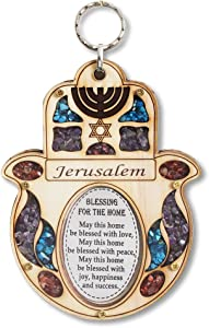 My Daily Styles Wooden Hamsa Blessing Home - Good Luck Jerusalem Wall Decor Simulated Gemstones