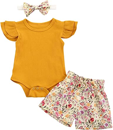 puseky Infant Baby Girl Clothes Floral Print Sleeveless Tank Top Shorts Outfit Set