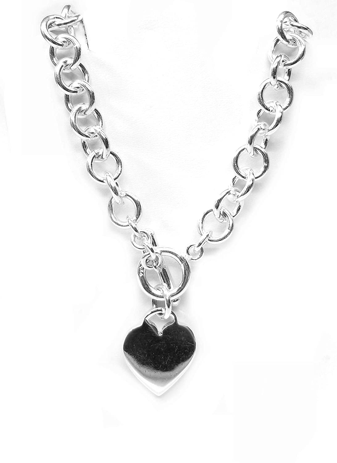2b67f7bb5 Amazon.com: Round link necklace w/toggle clasp & heart pendant, in Sterling  Silver: Handmade