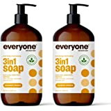 Everyone 3-in-1 Soap, Body Wash, Bubble Bath, Shampoo, 32 Ounce (Pack of 2), Coconut and Lemon, Coconut Cleanser with Organic