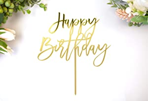 LS Designs Happy Birthday Cake Topper Gold Acrylic Large Cake Topper 7 3/4 inches x 6 1/2 inches Full Gold Acrylic Birthday Cake Birthday Cupcake Party Decoration Durable Versatile Cake Topper