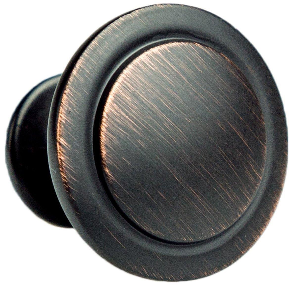 Oil Rubbed Bronze Kitchen Cabinet Knobs - 1 1/4 Inch Round Drawer Handles - 10 Pack of Kitchen Cabinet Hardware