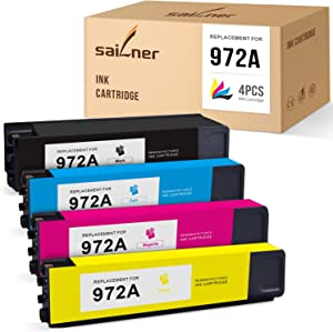 SAILNER Remanufactured Ink Cartridge Replacement for HP 972A 972 A use with Pagewide MFP 377dw 377dn Pro 352dn 477dw 577dw 452dw 552dw 552dn Managed P55250dw (Black, Cyan, Magenta, Yellow, 4 Pack)