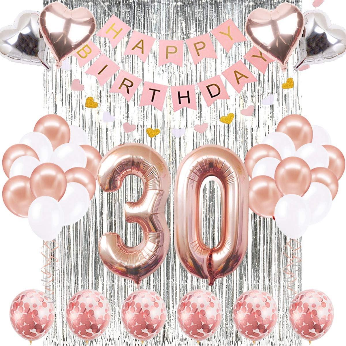 Decoraciones de Cumpleaños Número 30 Banner Globo Decoraciones de Cumpleaños Número 30 Artículos de Fiesta Regalos Para Mujeres Globos Número 30 de Oro Rosa, Globos de Confeti de Oro Rosa