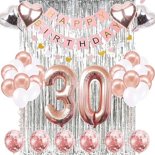 SUNPAT Decoraciones de Cumpleaños Número 30 Banner Globo Decoraciones de Cumpleaños Número 30 Artículos de Fiesta Regalos Para Mujeres Globos Número 30 de Oro Rosa, Globos de Confeti de Oro Rosa: Amazon.es: Hogar