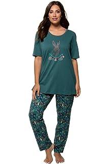 3b0b1f34e2 Ulla Popken Damen große Größen bis 66+   Zweiteiliger Pyjama   Halbarm- Oberteil